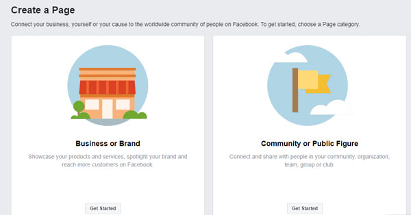 Facebook business page 1st setup screen