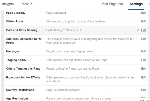 General settings for Facebook business page