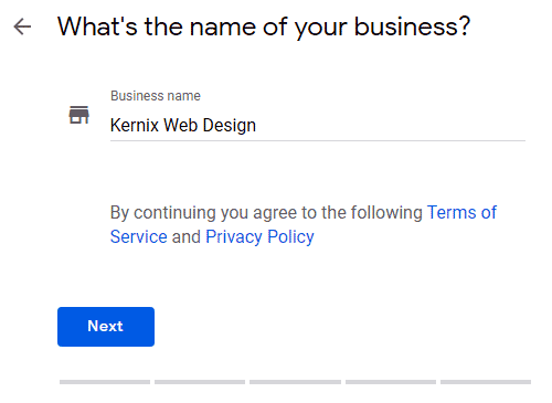 Business name screen