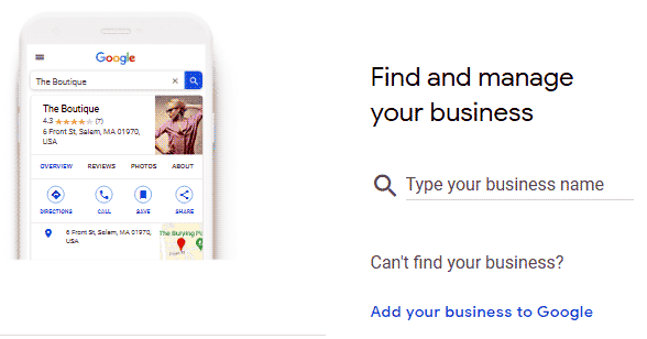 1st screen for Google My Business listing