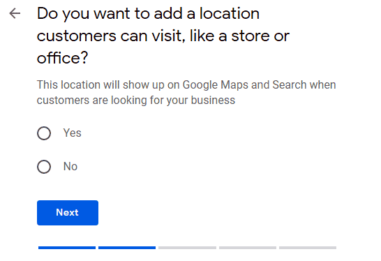 Location screen for Google Maps