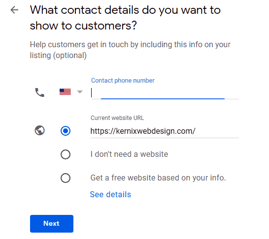 Google my business contact information
